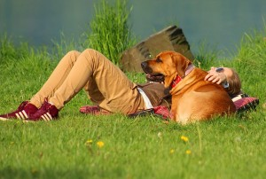 dog and owner relaxing